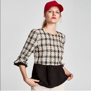ZARA BASIC COLLECTION CONTRASTING TWEED TOP